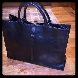 Vintage black leather tote FOSSIL